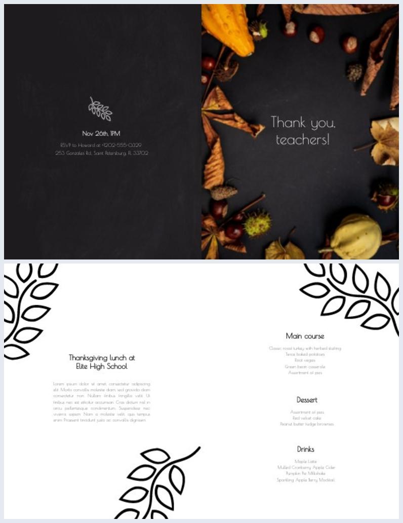 Layout grafico per invito alla cena del Giorno del Ringraziamento