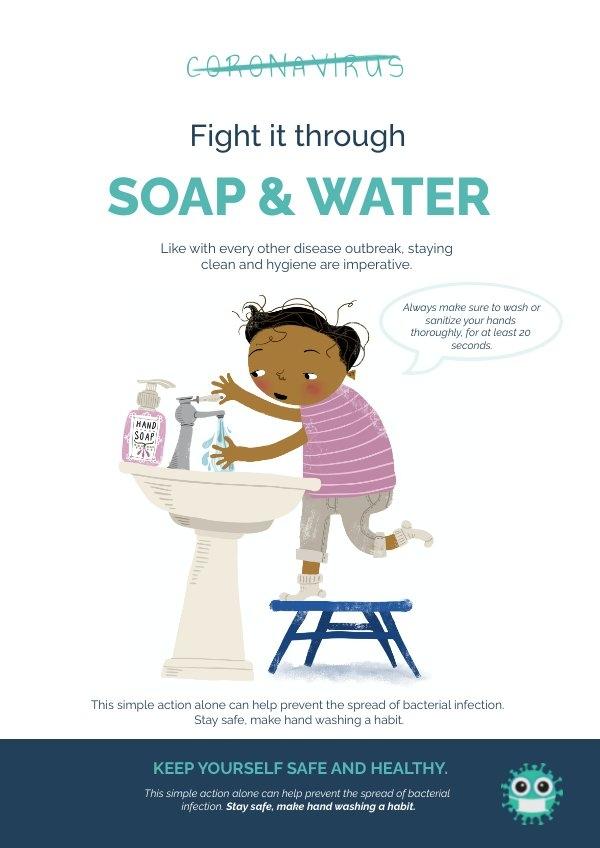 Inspiración para el diseño de cartel de Mantente a salvo vs Coronavirus