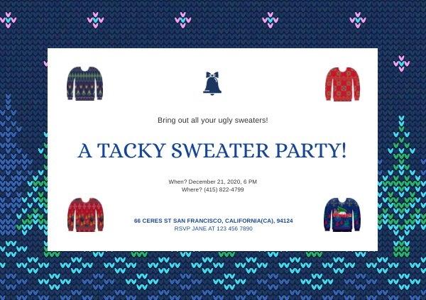 Diseño para invitación a fiesta de suéter feo