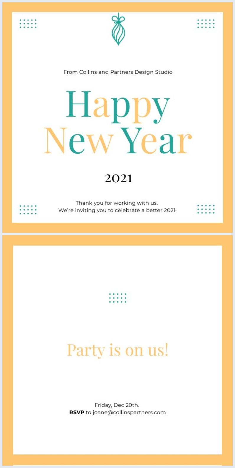 Grafica per invito alla festa di Buon Anno