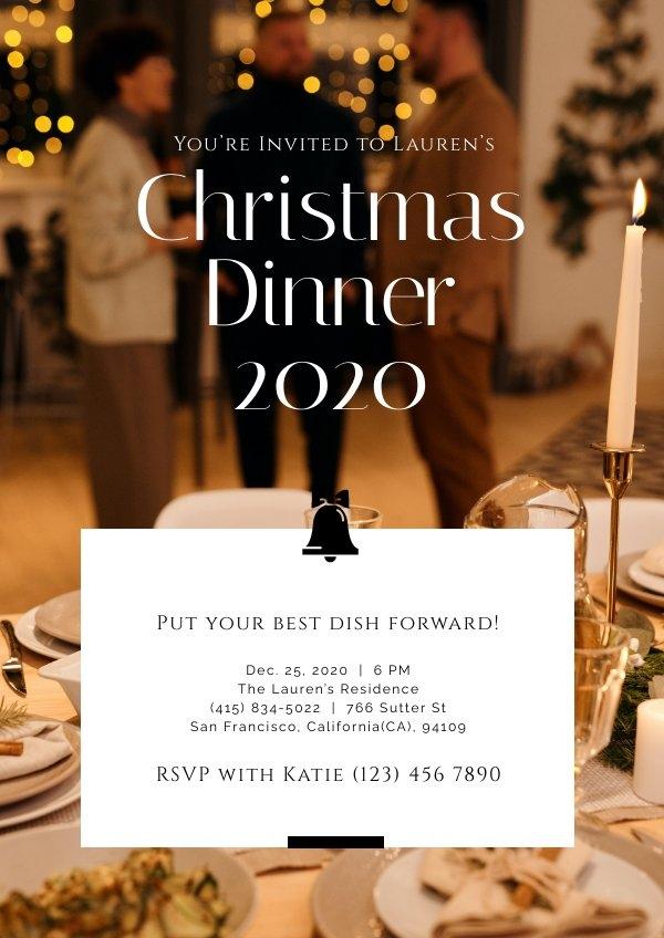 Grafica elegante per invito alla cena di Natale