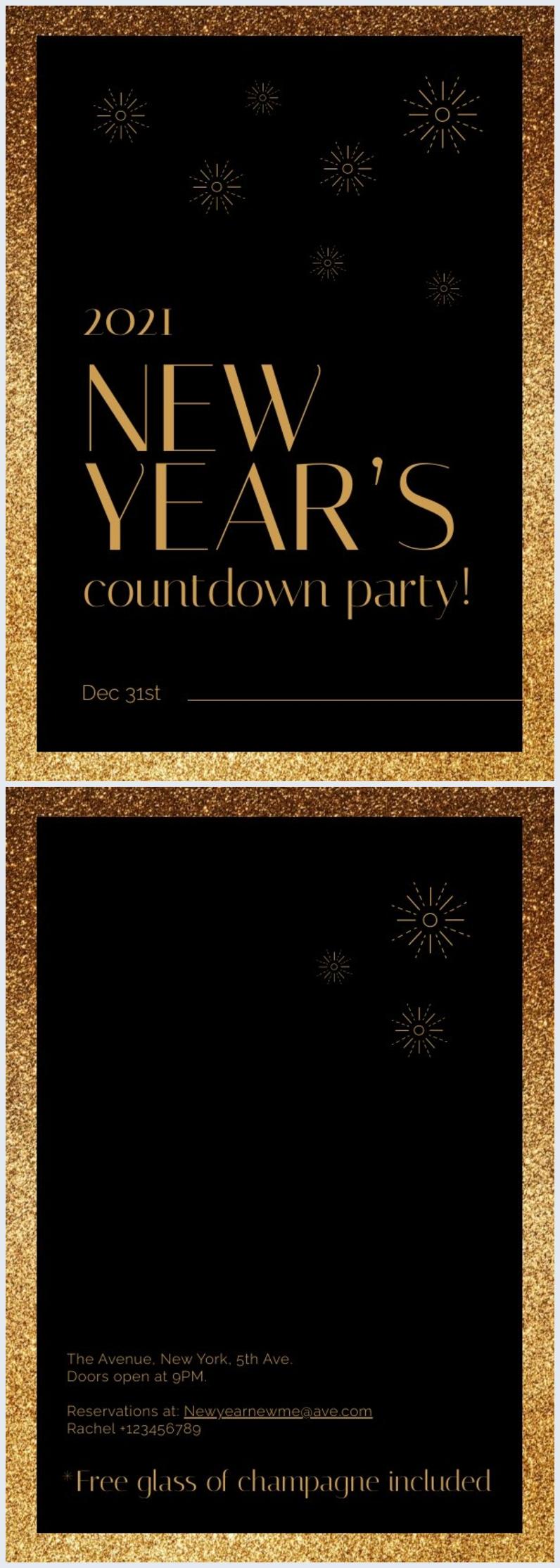 Grafica sgargiante per invito alla festa di Capodanno