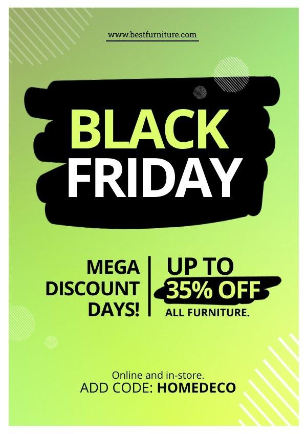 Kostenloses Black Friday Poster-Design-Beispiel