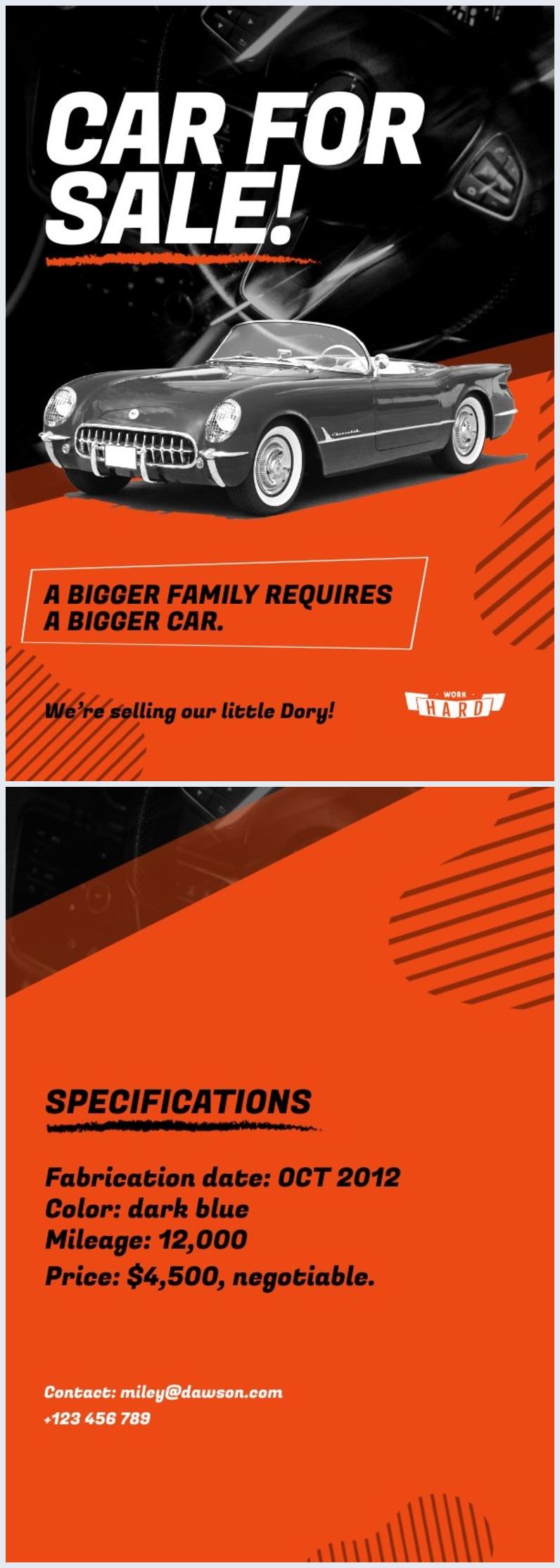 Exemplo de Design de Folheto de Carro à Venda
