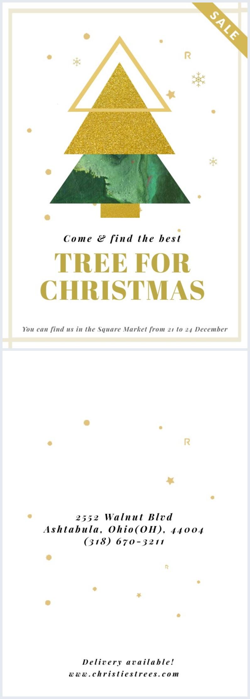 Idea grafica per volantino di negozio degli alberi di Natale
