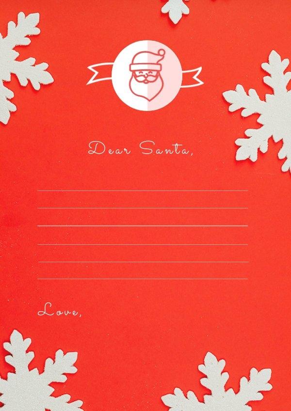 Ejemplo de diseño en blanco para carta a Papá Noel