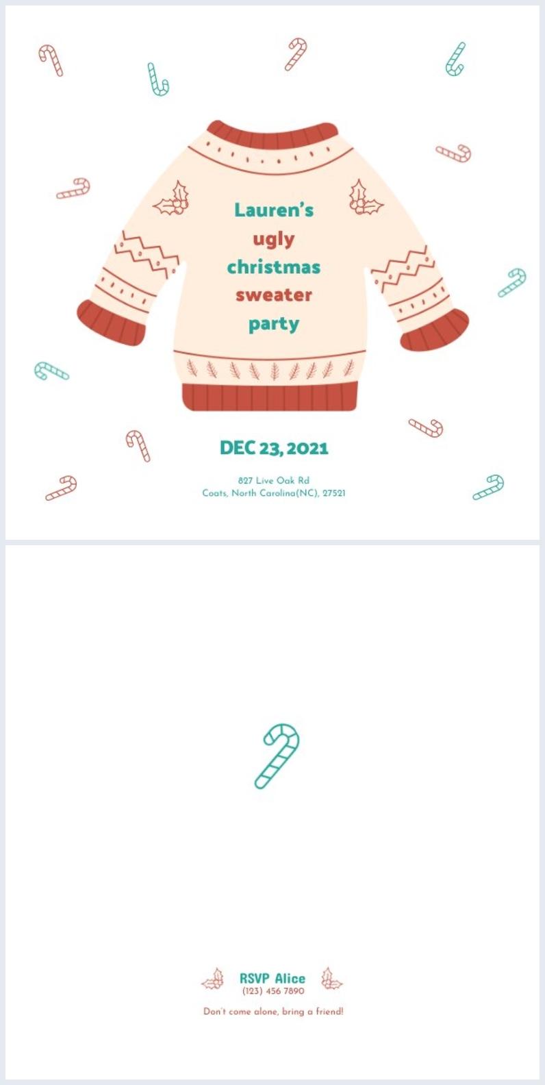 Hässliche Weihnachtspullover Flyer-Design-Inspiration