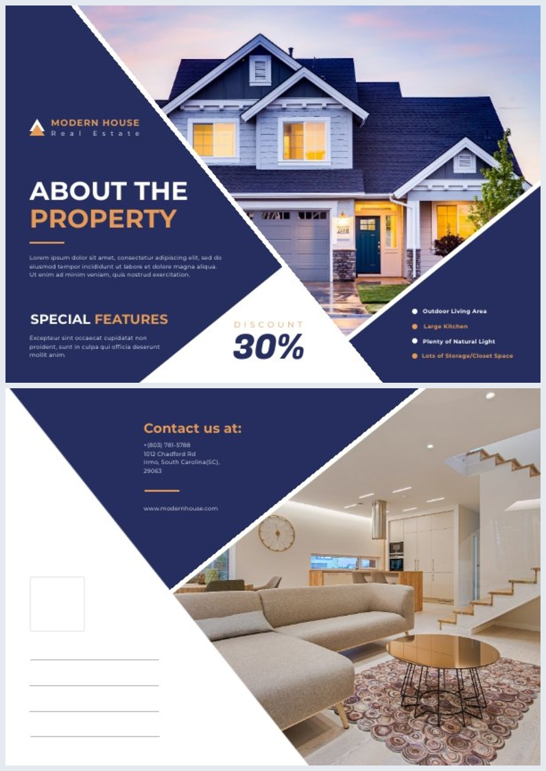 Real Estate Postcard Design Example