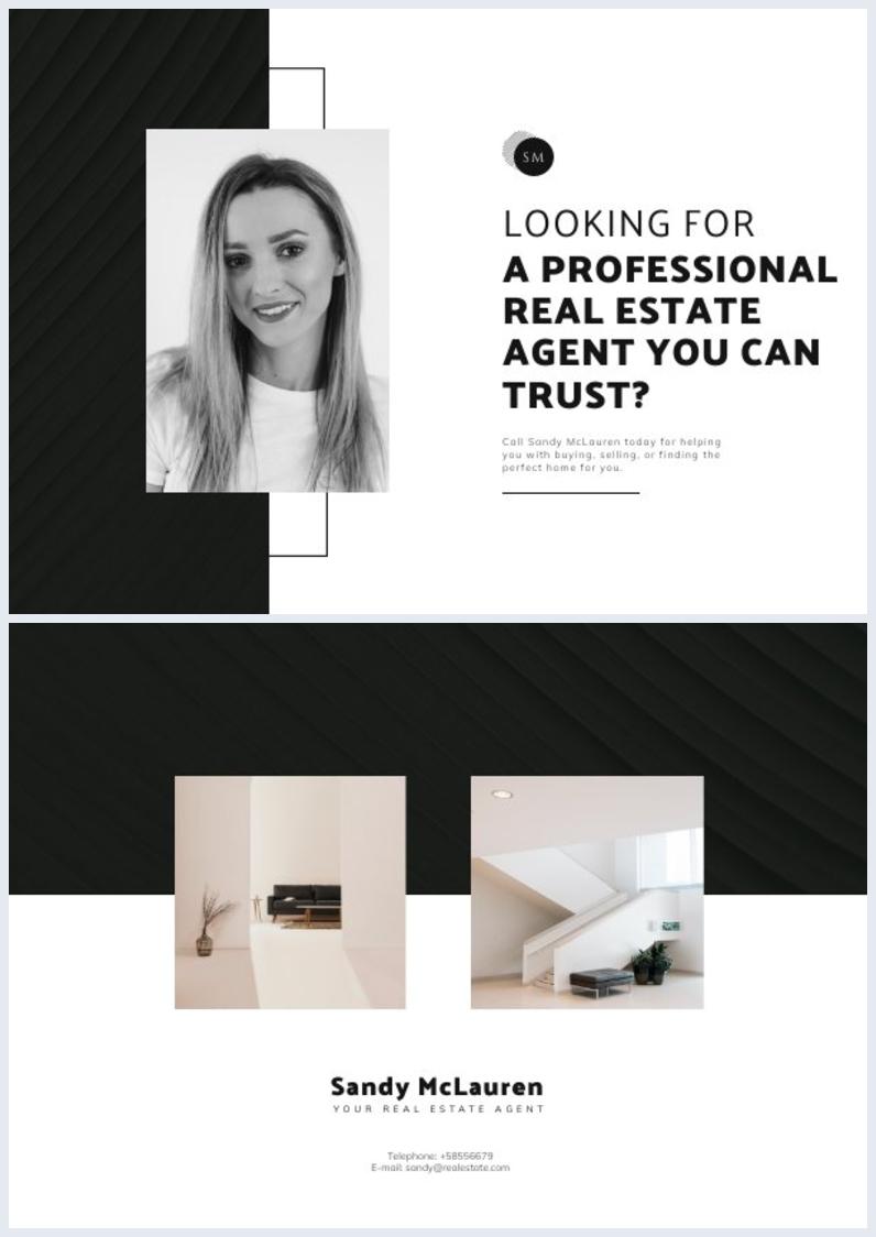 Diseño para tarjeta postal de presentación de Agente inmobiliario