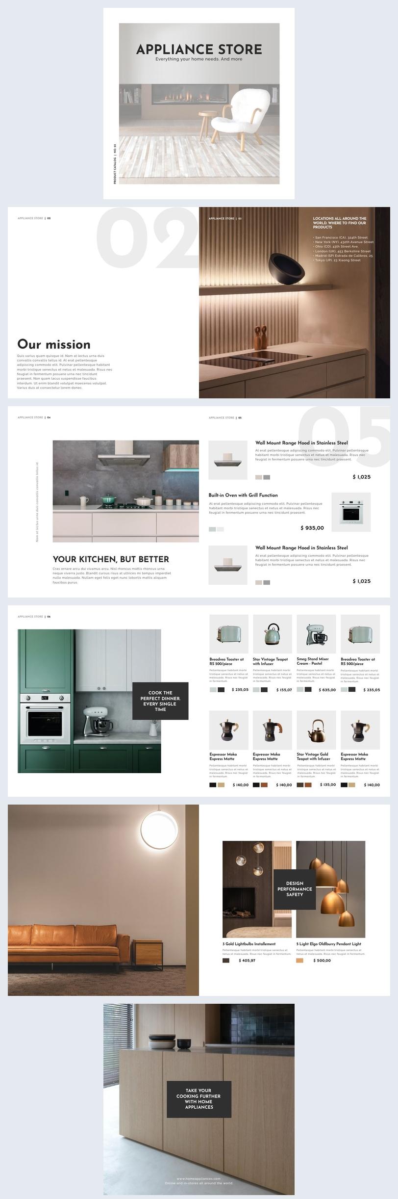 Exemple et design de catalogue d'appareils électroménagers moderne