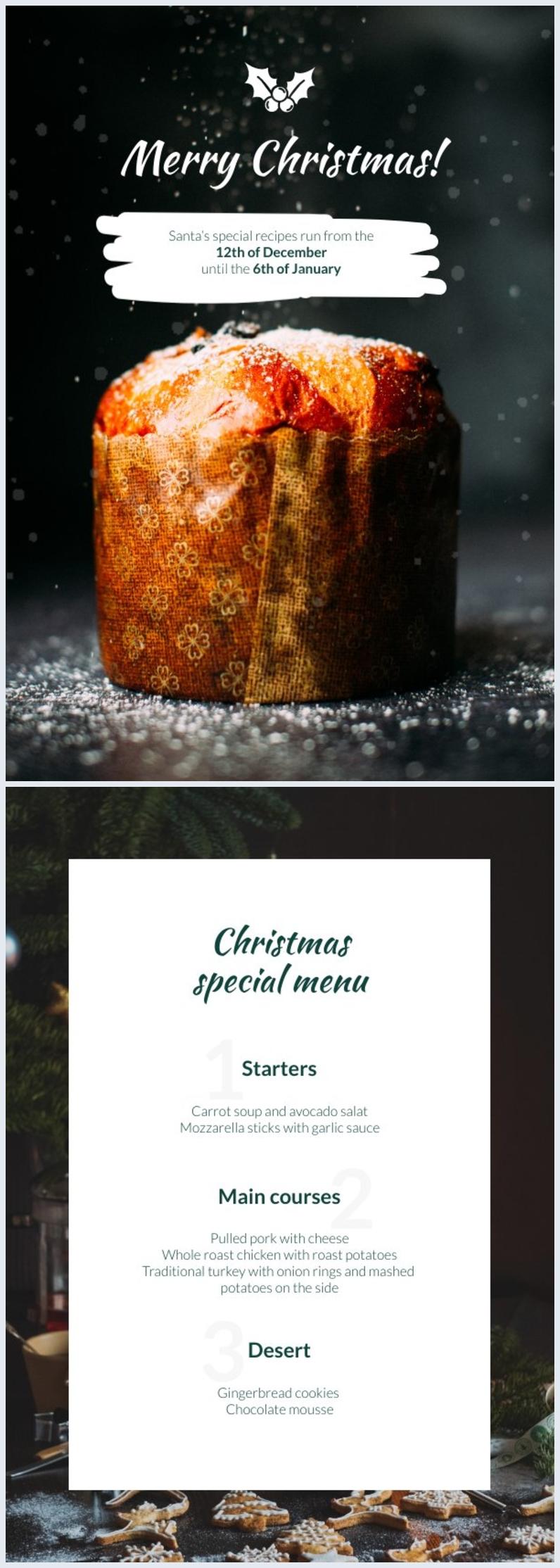 Inspiration et design de menu de Noël