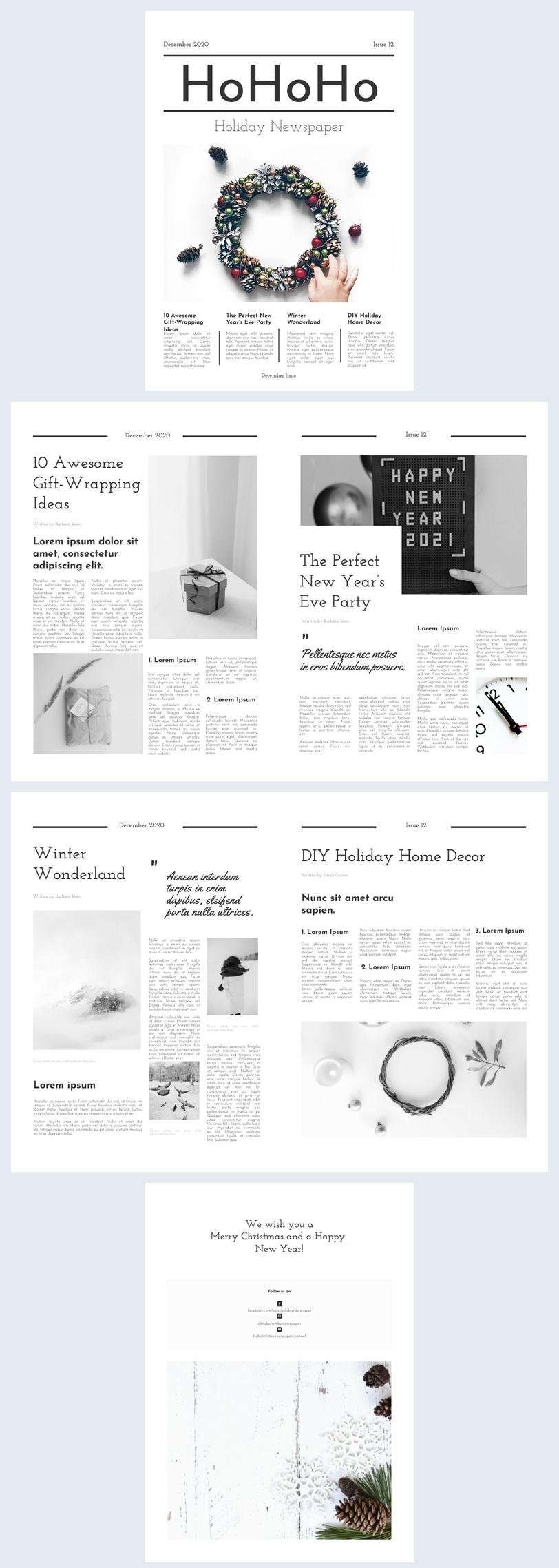 Beispiel-Design einer Feiertagszeitung