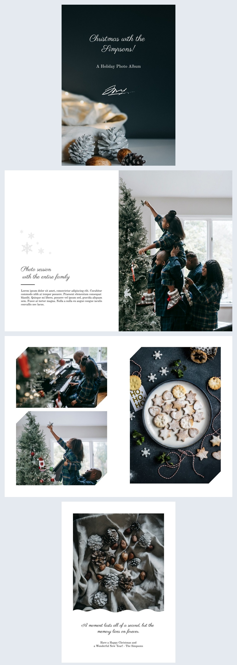Design de Álbum de Fotos para Feriados de Inverno
