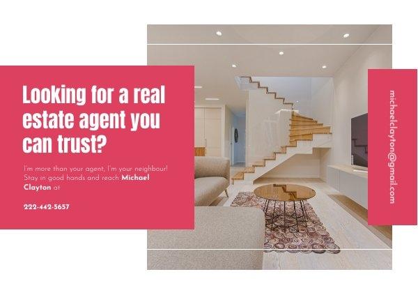 Esempio di grafica per cartolina di presentazione da agente immobiliare