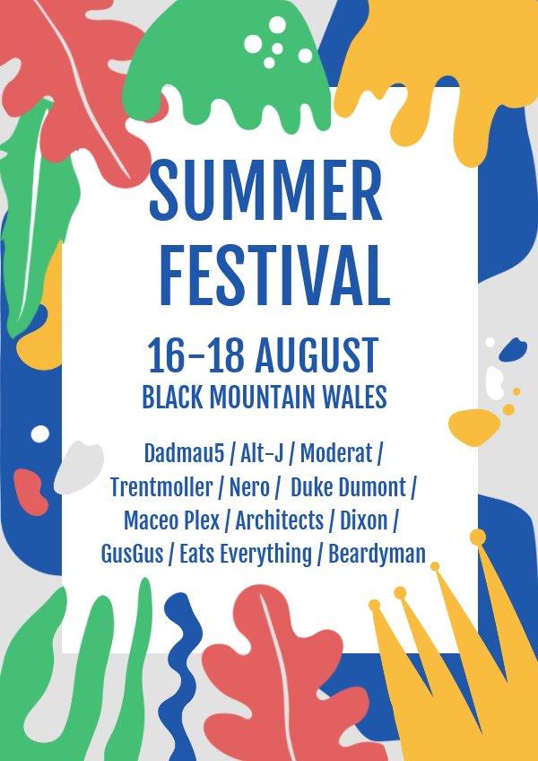 summer festival poster  u0026 flyer template