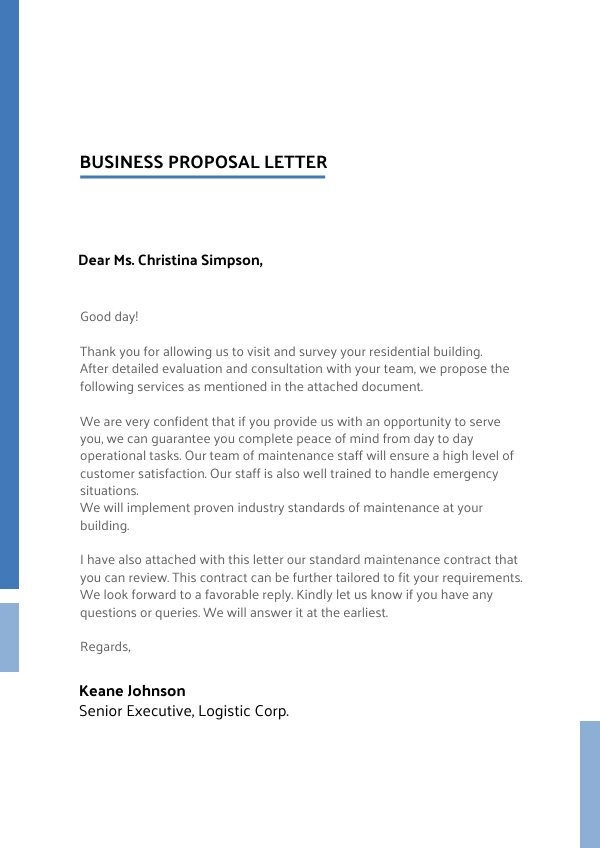 Business Proposal Letter Design Example