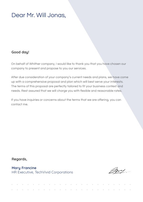 Esempio gratuito per lettera con proposta commerciale
