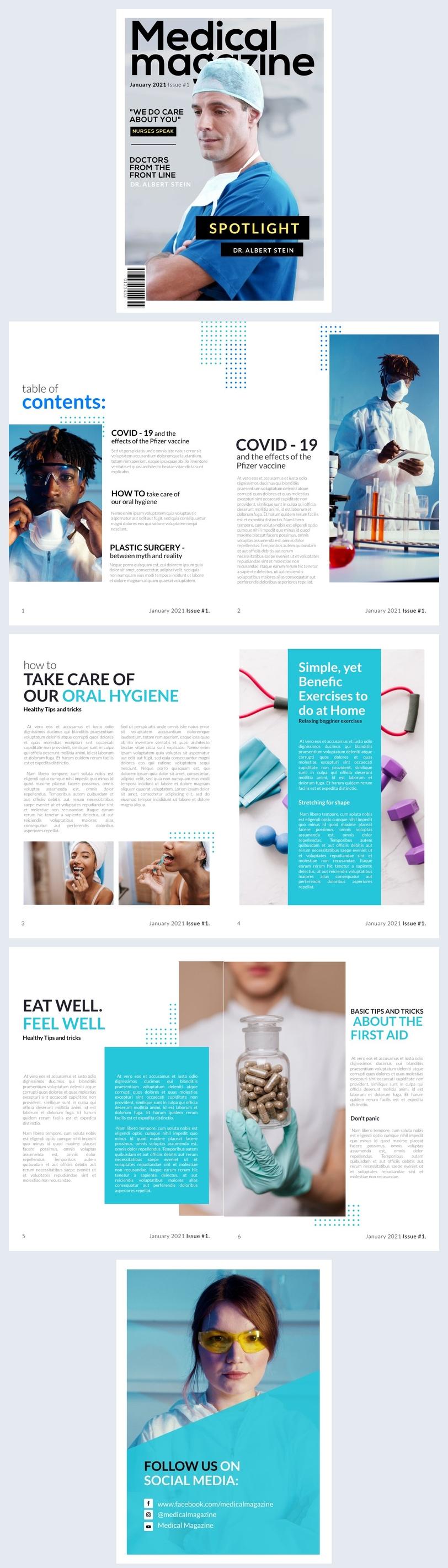 Exemplo de Design de Revista Médica Profissional