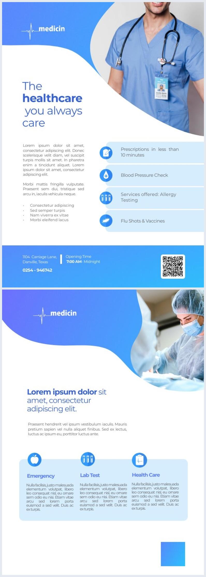 Kostenloses Beispiel-Design für Medizinische Flyer