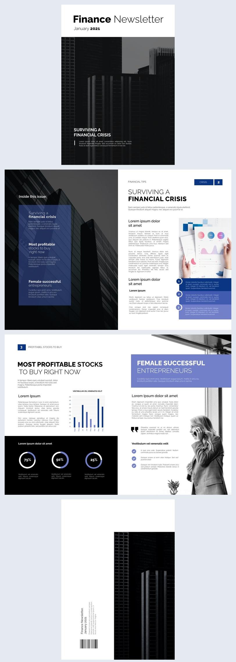 Exemple et design de newsletter de finance