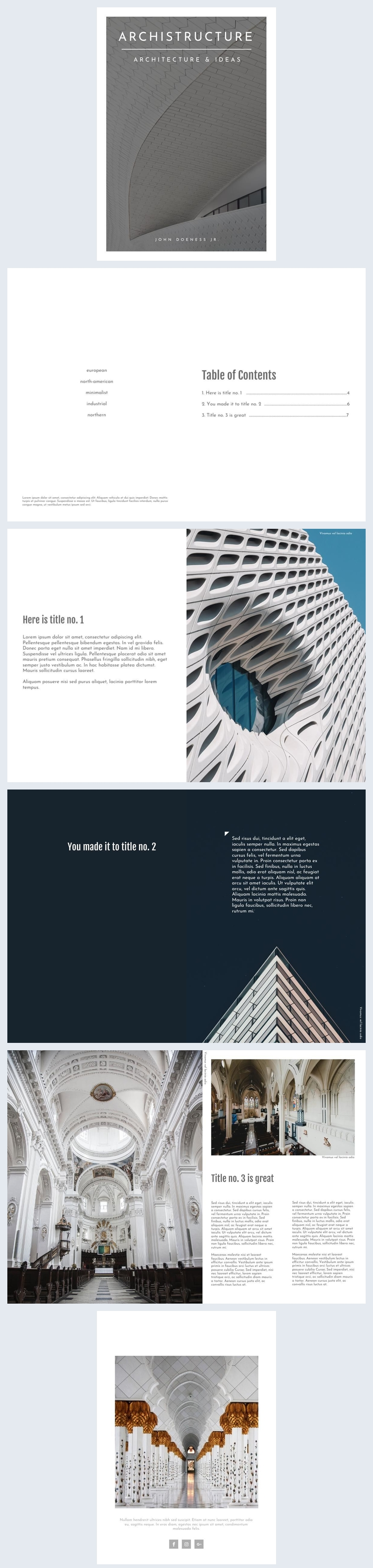 Diseño para portafolio profesional de arquitectura