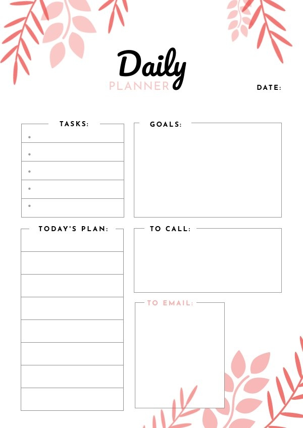 Printable Daily Planner Design Example