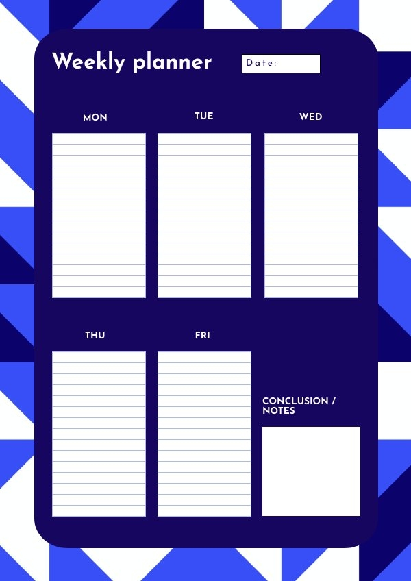 One Page Weekly Planner Design Example