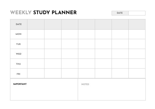 Weekly Study Planner Design Example