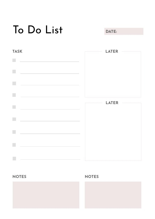Blank To Do List Template Design Example
