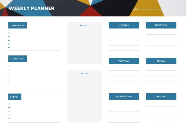 Weekly Work Plan Design Example
