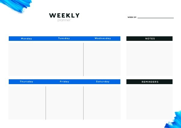 Weekly Agenda Planner Design Example