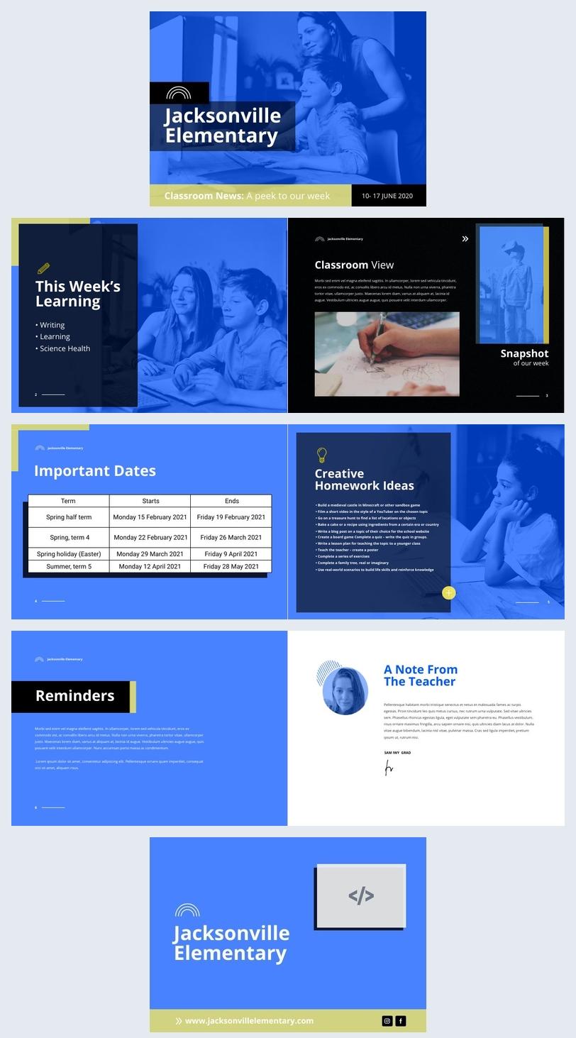 Interactive Teacher Newsletter Design Example