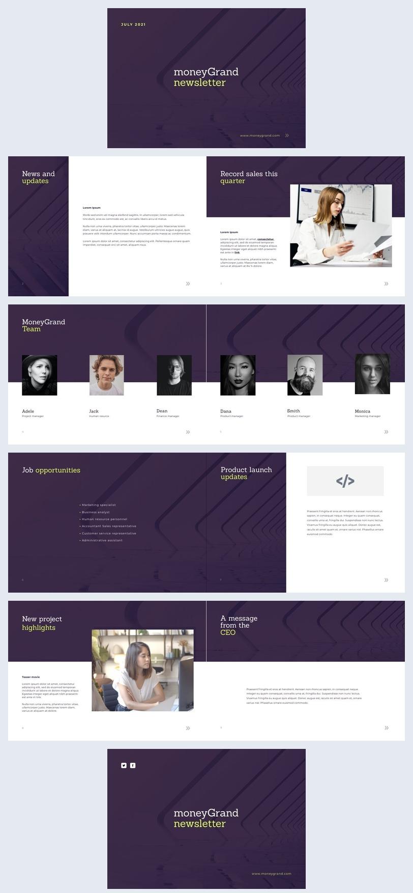 Exemplo de Design de Newsletter de Empresa interativa