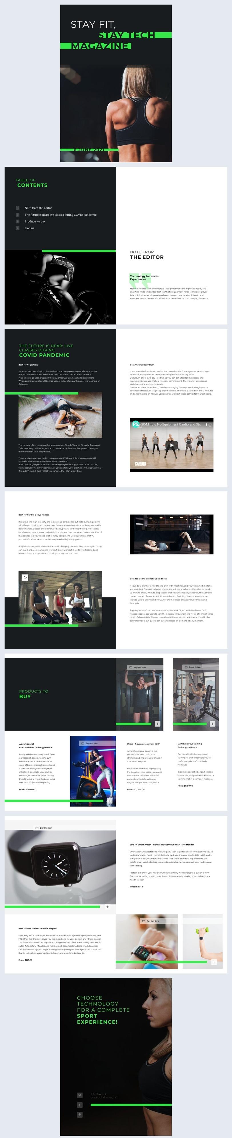 Interaktives Fitness-Tech-Magazin-Design