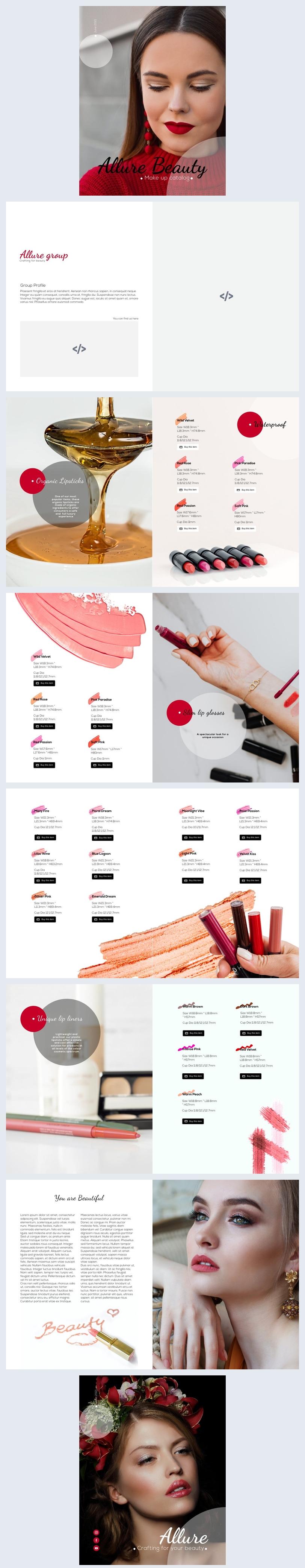 Exemple et design de catalogue de produits cosmétiques interactifs