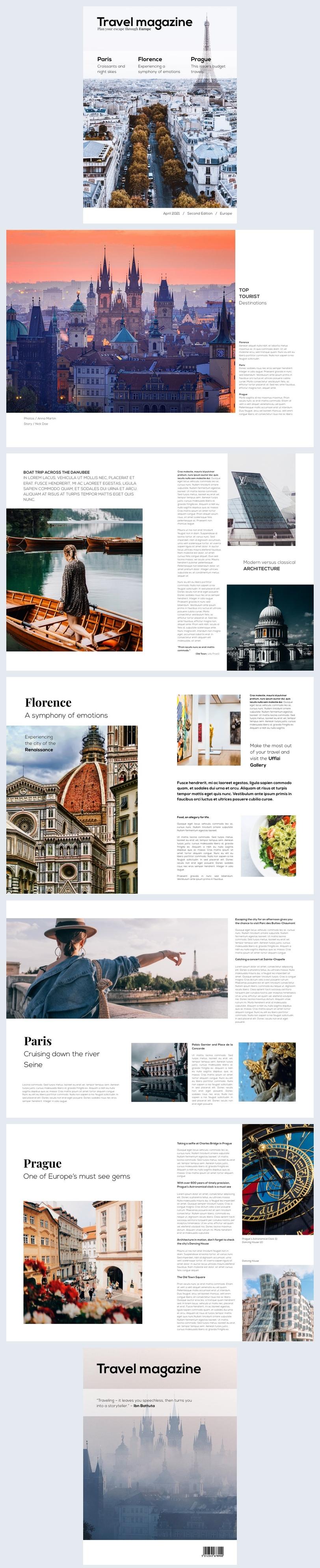 Exemplo de Design de Revista de Viagens Moderna