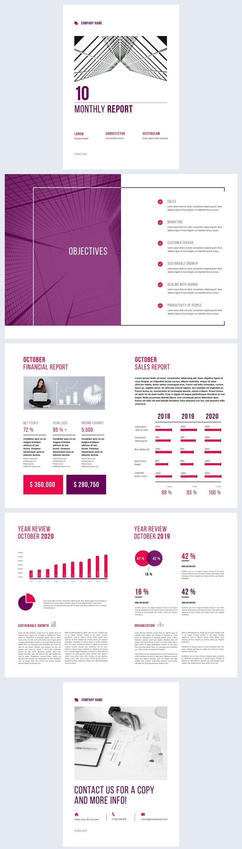 Idea grafica per report finanziario mensile