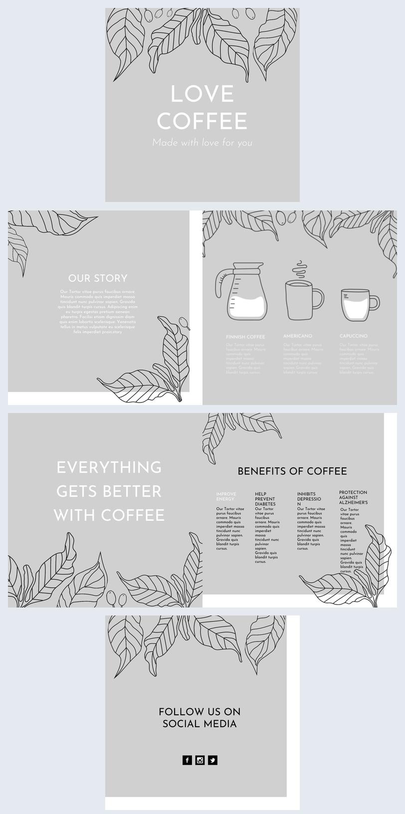 Design di opuscolo per caffetteria