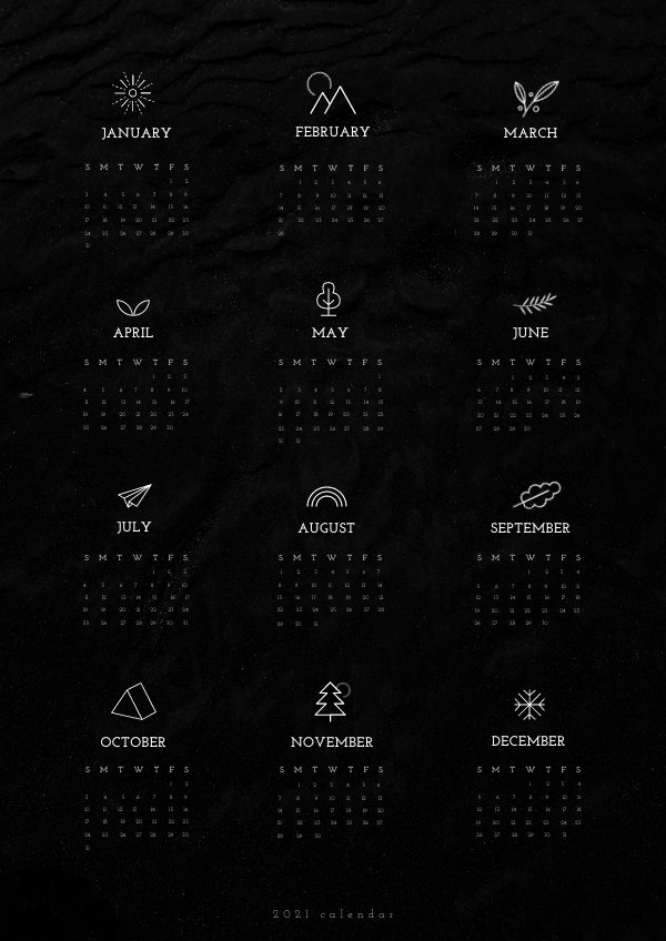One Page Yearly Calendar Design Example