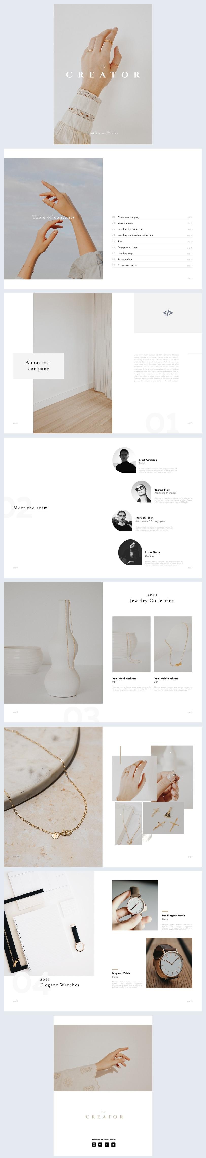 Amostra de Design de Portfólio de Joias e Relógios