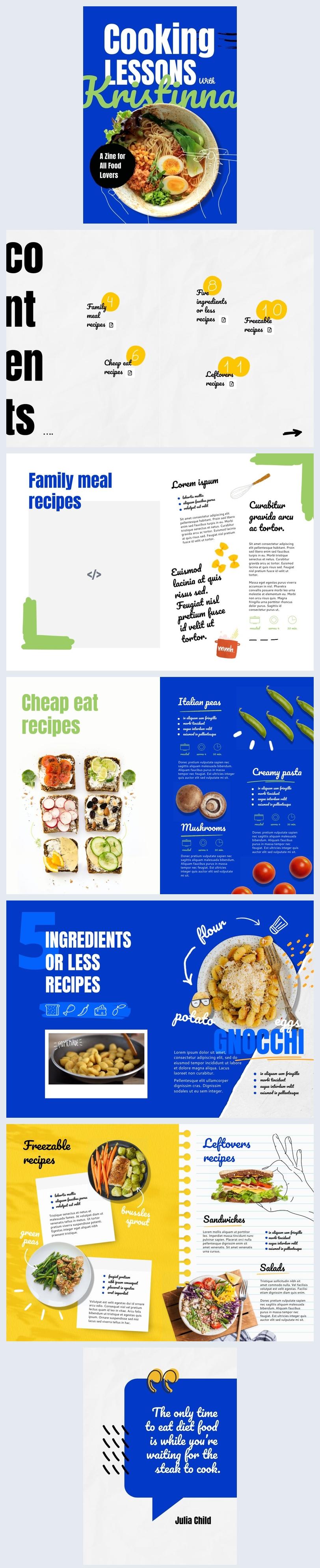 Esempio di grafica per catalogo alimentare interattivo