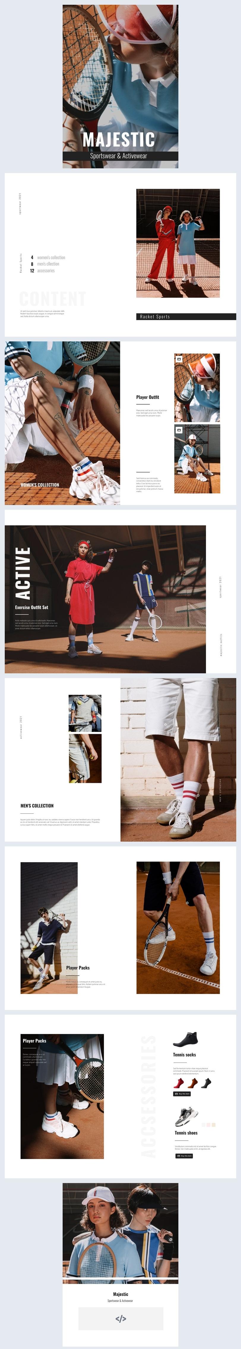 Grafica per lookbook interattivo di abbigliamento sportivo