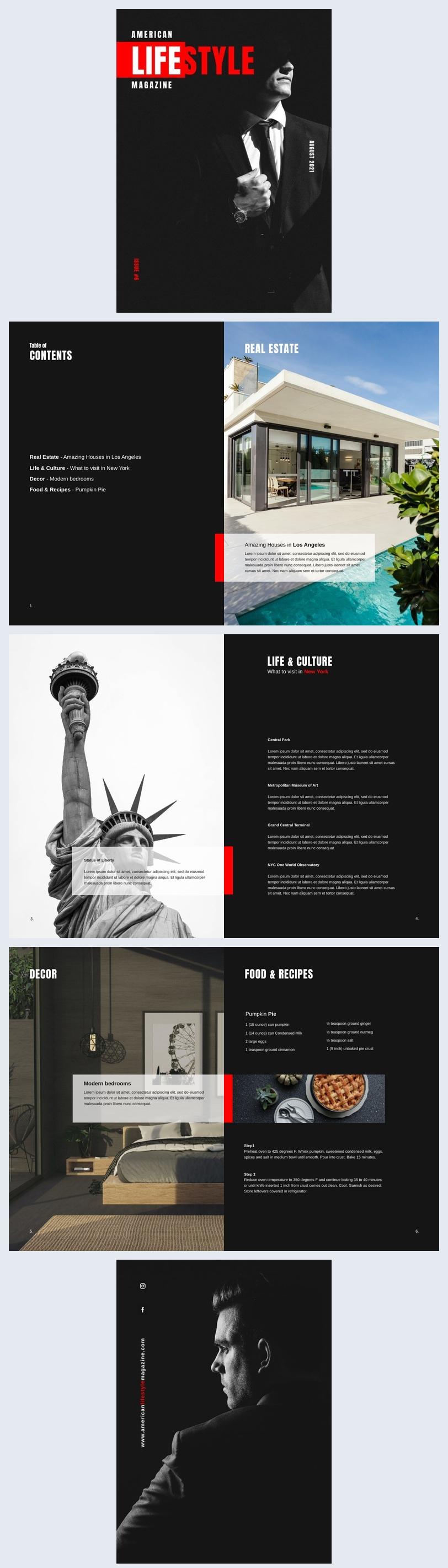 American Lifestyle Magazine Design Example
