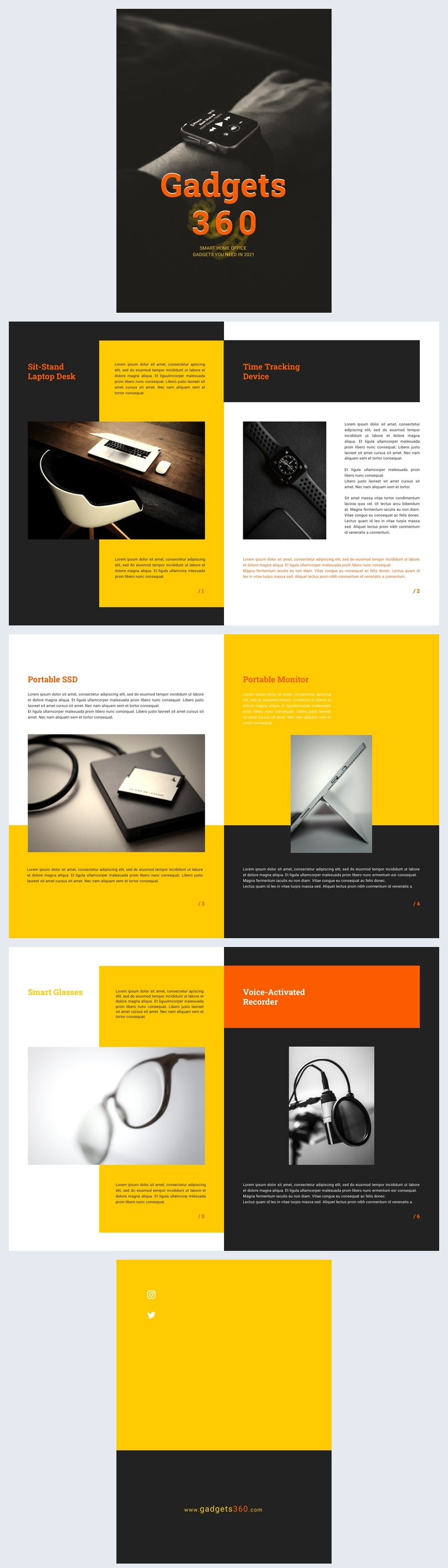 Esempio di grafica per catalogo di gadget moderni
