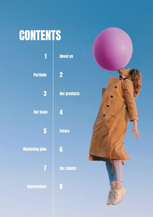 Creative Table of Contents Design Example