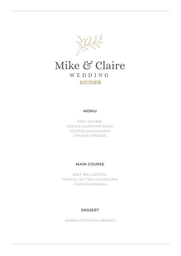 Exemple et design de menu de table de mariage imprimable