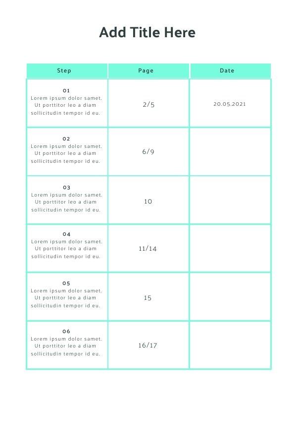 Gratis Blanko Inhaltsverzeichnis-Beispiel-Design