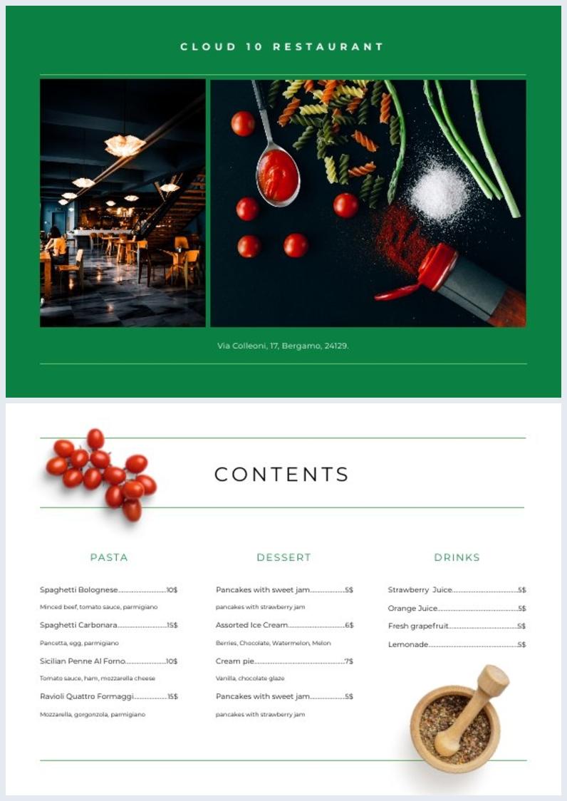 Diseño para índice de restaurante