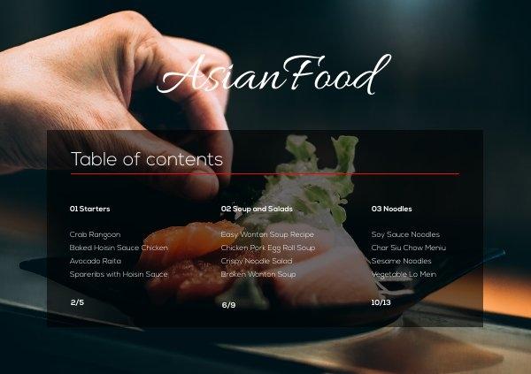 Diseño de índice para menú de restaurante