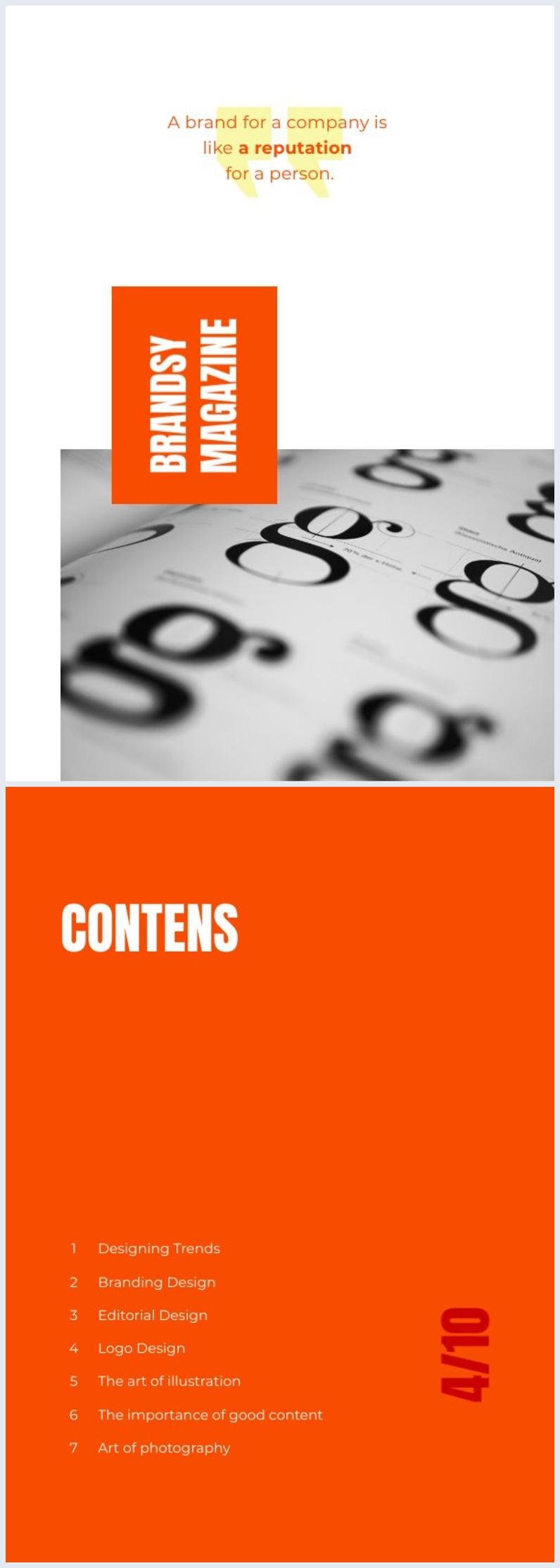 Ejemplo de diseño para índice de revista